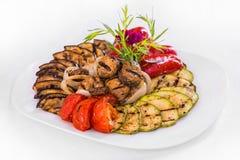 Vegetais grelhados alimento do prato Fotos de Stock