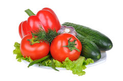 Vegetais isolados no fundo branco Fotografia de Stock Royalty Free