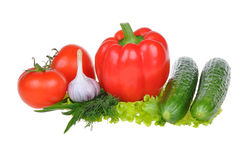 Vegetais isolados no fundo branco Imagens de Stock Royalty Free