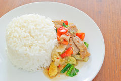 vegetais misturados Agitar-fritados com arroz Imagem de Stock