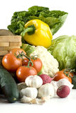 Vegetais na tabela branca Imagens de Stock Royalty Free