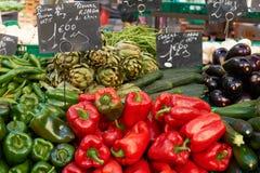 Vegetais na tenda do mercado Fotografia de Stock