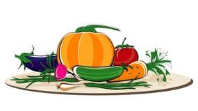 Vegetais no prato Fotos de Stock Royalty Free