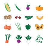 Vegetais nos ícones da cor ajustados Fotos de Stock Royalty Free