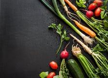Vegetais novos da mola no quadro preto de cima de Imagens de Stock