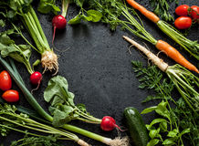Vegetais novos da mola no quadro preto de cima de Foto de Stock