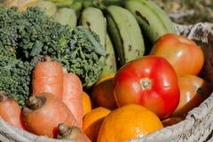 Vegetais orgânicos e healty em uma cesta Fotografia de Stock Royalty Free