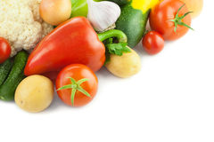 Vegetais orgânicos frescos/no fundo branco Imagens de Stock