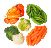 Vegetais orgânicos saudáveis isolados no fundo branco Foto de Stock Royalty Free