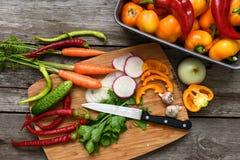 Vegetais para a salada Abóboras vegetais, pimenta, cebolas, salsa Imagem de Stock