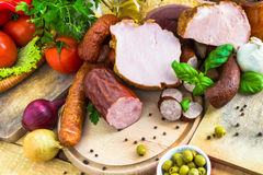 Vegetais processados variedade dos produtos de carne Fotografia de Stock