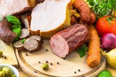 Vegetais processados variedade dos produtos de carne Foto de Stock