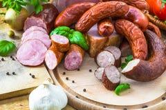 Vegetais processados variedade dos produtos de carne Fotos de Stock Royalty Free