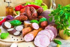 Vegetais processados variedade dos produtos de carne Foto de Stock Royalty Free