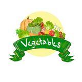Vegetais que tiram grupo ajustado com bandeira do texto ilustração do vetor