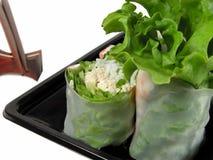 Vegetais rolo e chopsticks Imagem de Stock