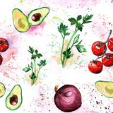 Vegetais salsa da aquarela, abacate, tomates cereja, cebola Imagem de Stock