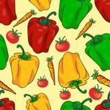 Vegetais sem emenda do teste padrão com pimentas, tomates, e cenouras ilustração do vetor