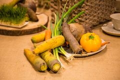 Vegetais servidos na tabela Imagens de Stock Royalty Free