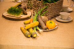 Vegetais servidos na tabela Foto de Stock Royalty Free