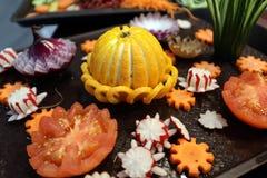 Vegetais shredded crus diferentes como exemplo de uma dieta saudável Fotografia de Stock