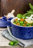 Vegetais sortidos com folhas dos espinafres Fotos de Stock
