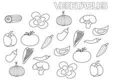 Vegetais tirados mão ajustados Molde da página do livro para colorir Fotografia de Stock