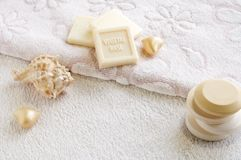 Vegetal base soaps for bath and spa Stock Images