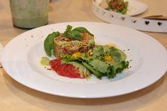 Vegetal Burger in White Dish with Basil, Tomatoes and Lettuce stock photo