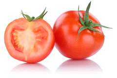Vegetal cortado tomate dos tomates isolado Imagens de Stock Royalty Free