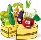 Vegetal e bolo de queijo saudáveis - vetor Fotografia de Stock Royalty Free