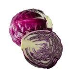 Vegetal fresco da couve vermelha no fundo branco Foto de Stock Royalty Free