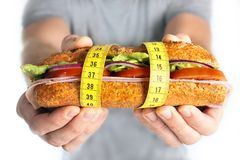 Vegetal Sandwich  in measure tape in diet concept Stock Photos