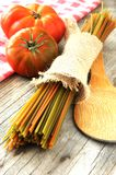 Vegetal spaghetti raw pasta and tomatoe for sauce Stock Images