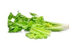 Vegetal verde do aipo com a fatia isolada no branco Imagens de Stock