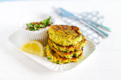 Vegetaran burgers, zucchini fritters, diet meal Royalty Free Stock Photos
