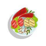 Vegetaran a grillé l'ensemble, illustration de plat de nourriture de gril d'Oktoberfest Photographie stock