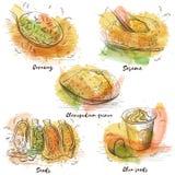 Vegetariër met zaden op witte achtergrond wordt geplaatst die Ruw, veganist, vegetarisch voedsel Vectorwaterverf Reeks voor druko stock illustratie