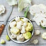 vegetarian еды принципиальной схемы cauliflower свежий healty органический сырцовый Стоковые Фото