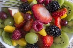 vegetarian салата фарфора померанцев виноградин плодоовощ еды Стоковое фото RF