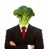 Vegetarian. Image of healthy man with arms crossed and vegetable for a head for vegetarian metaphor Stock Photography