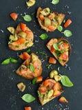 Vegetarian Appetizer. Vegetarian Bruschetta. Healthy Vegetarian Appetizer Royalty Free Stock Photo