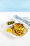 Vegetarian appetizer meal of zucchini burgers, fritters Stock Photos