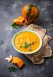 Vegetarian autumn pumpkin cream soup Royalty Free Stock Photos