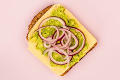 Vegetarian Avocado and Jarisberg Cheese Rye Bread Open Faced San. Dwich With Sliced Onions Against A Lilac Background Royalty Free Stock Image