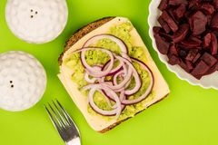 Vegetarian Avocado and Jarisberg Cheese Rye Bread Open Faced San. Dwich With Sliced Onions Against A Green Background Stock Photography