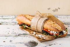 Free Vegetarian Baguette Sandwich Royalty Free Stock Photo - 74005455