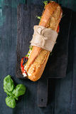 Vegetarian baguette sandwich Royalty Free Stock Images
