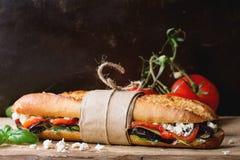 Vegetarian baguette sandwich Royalty Free Stock Images