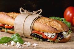 Vegetarian baguette sandwich Stock Images